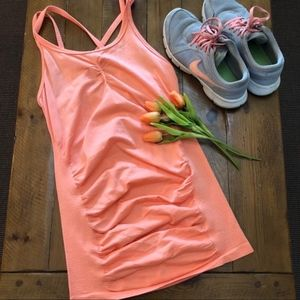 Tops - CALIA Seamless Double Strap Ruched Workout Tank S